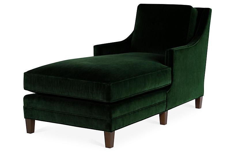Salon Chaise, Emerald Velvet