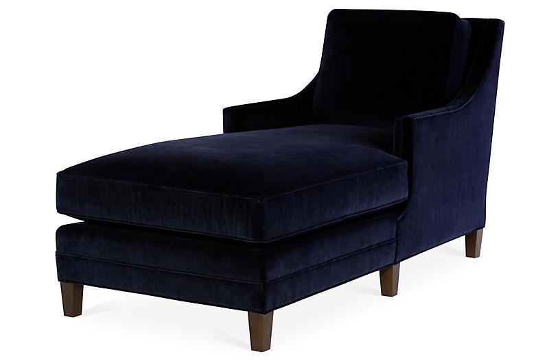 Salon Chaise, Navy Velvet