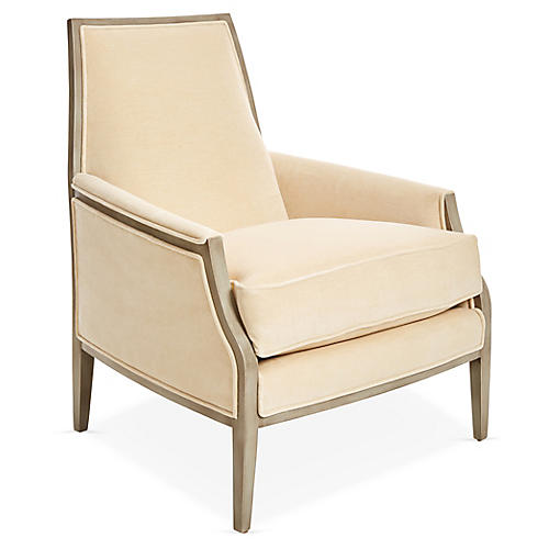 Bergen Accent Chair, Cream Velvet