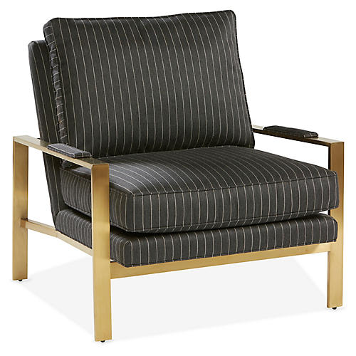 Frank Accent Chair, Smoke Sunbrella