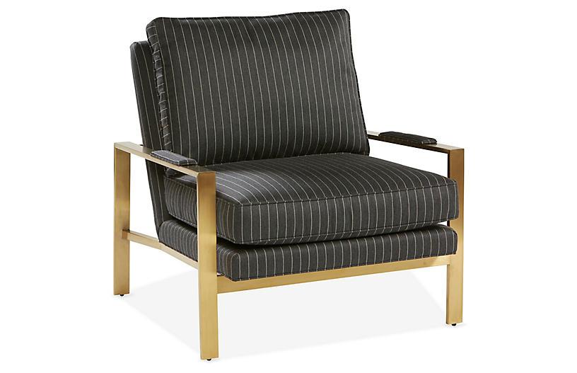 Frank Accent Chair, Smoke Sunbrella