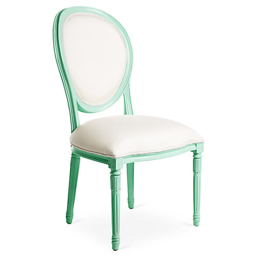 Melrose Outdoor Side Chair, Mint/White Sunbrella