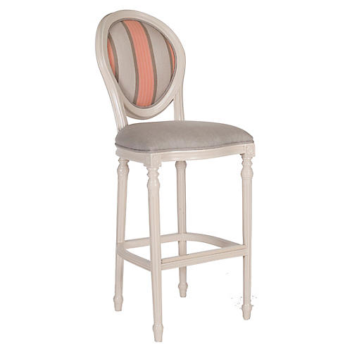 Melrose Outdoor Barstool, Beige/Pink Sunbrella