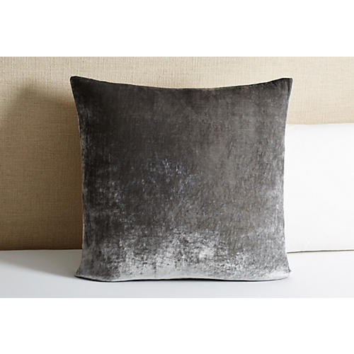 Tailored Velvet Euro Sham, Gray