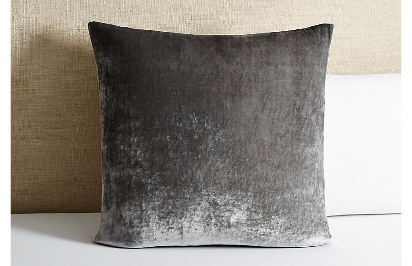 Tailored Velvet Euro Sham - Gray - Linen Salvage Et Cie