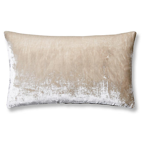 Silk Velvet 12x20 Lumbar Pillow, Natural