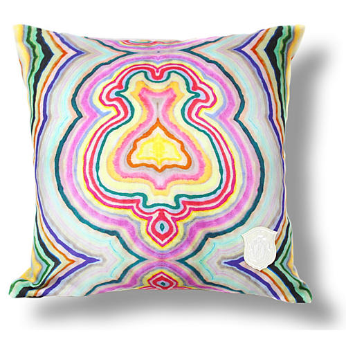 Funky Agate 18x18 Linen Pillow