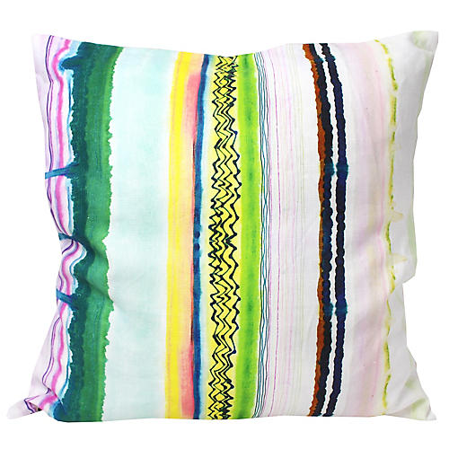 Emerald Drip 18x18 Linen Pillow, Green