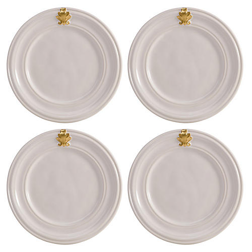 S/4 Acanthus Cocktail Plates, White/Gold