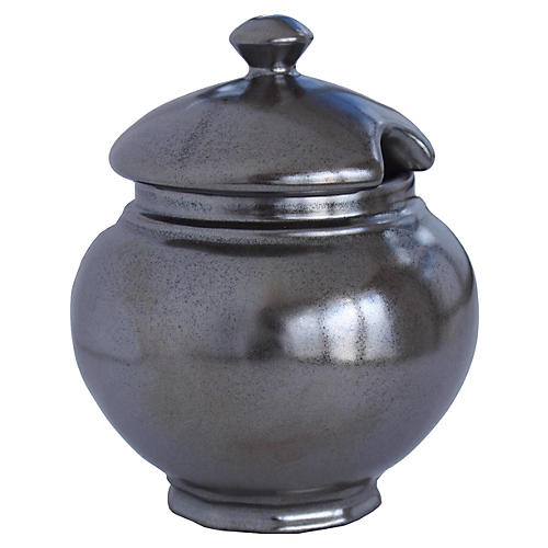 Lidded Pewter Sugar Bowl
