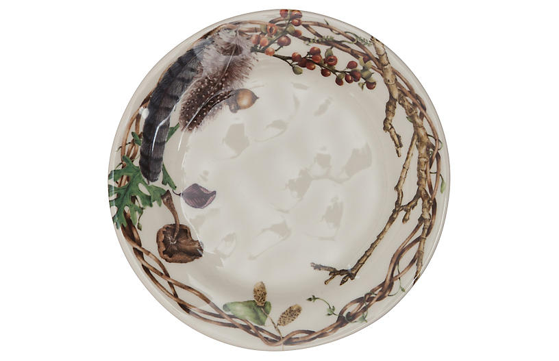 S/4 Forest Walk Party Plates, Ivory