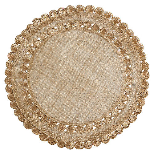 "15"" Isadora Place Mat, Gold"