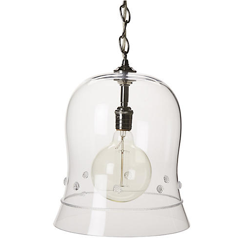 "Isabella 14"" Cloche Pendant, Nickel"