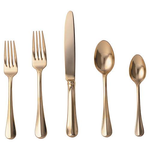 5-Pc Bistro Place Setting, Gold
