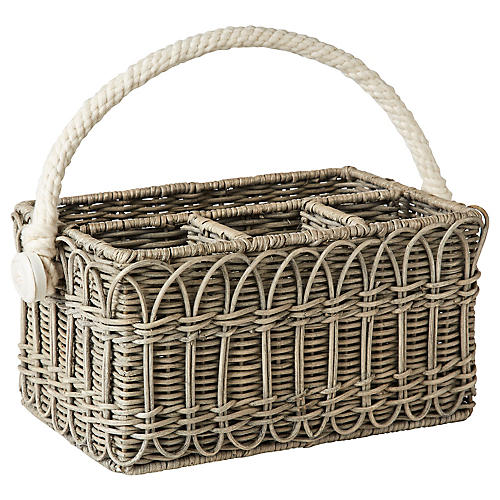 Waveney Wicker Utensil Caddy, Gray