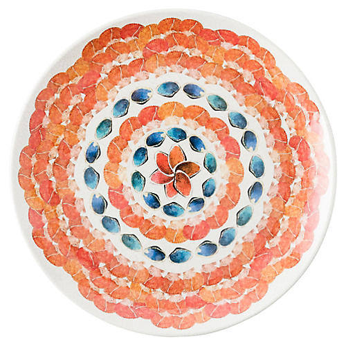 Oceanica Melamine Dinner Plate, Orange/Multi