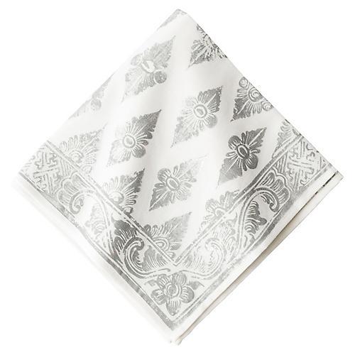 Florentine Gypsy Napkin, Silver/White