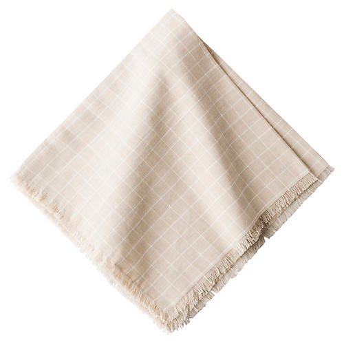 Windowpane Flax Napkin, Natural/White