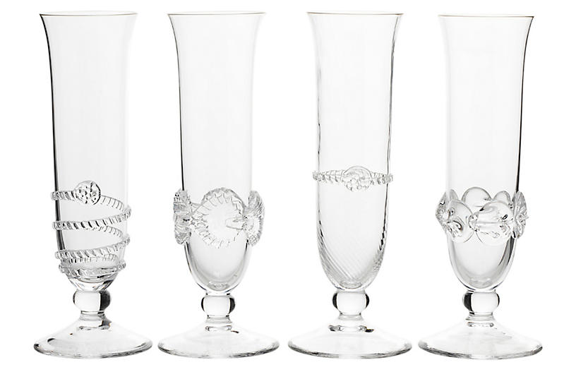 Asst. of 4 Heritage Champagne Flutes, Clear