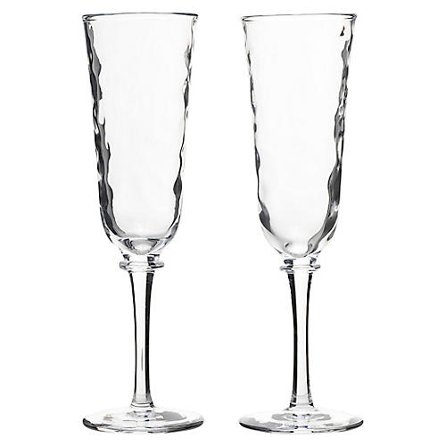 S/2 Carine Champagne Flutes, Clear