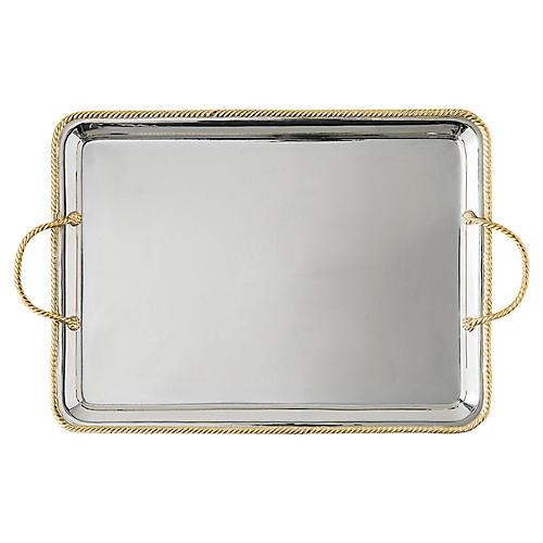 Periton Serving Platter, Silver/Gold