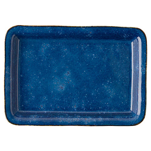 Puro Dappled Serving Platter, Cobalt