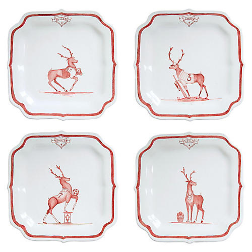 S/4 Reindeer Games Square Dessert Plates, Multi