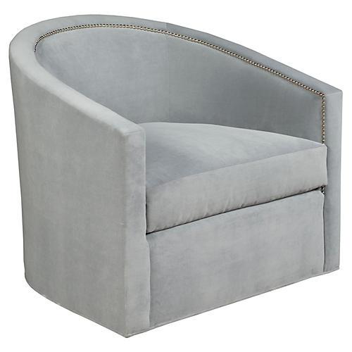 Georgia Swivel Chair, Gray Velvet
