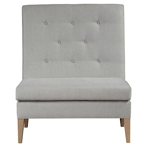 Draper Armless Banquette, Ivory Crypton