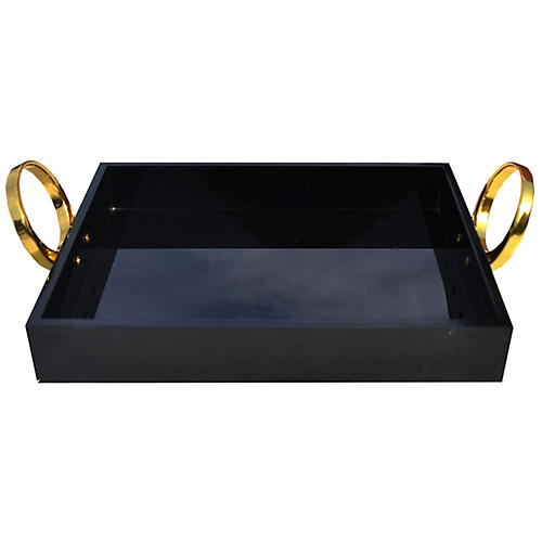 "14"" Lucite Tray, Black/Gold"