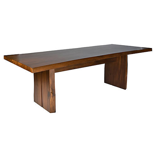 Livia 95 Live Edge Dining Table Tobacco