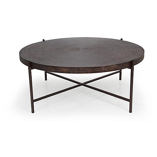 Sanskrit Coffee Table, Antique Copper