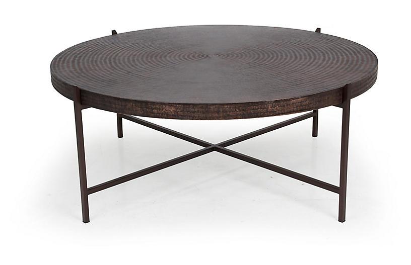 Sanskrit Coffee Table, Antique Copper