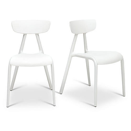 S/2 Perry Outdoor Side Chairs, White