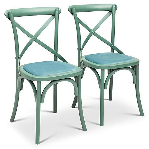 S/2 Nimes Side Chairs, Light Blue Velvet