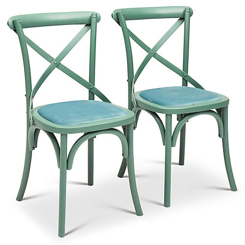 S/2 Nimes Side Chairs, Light Blue Velvet