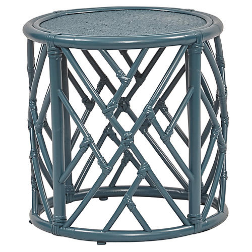 Chippel Rattan Side Table, Teal