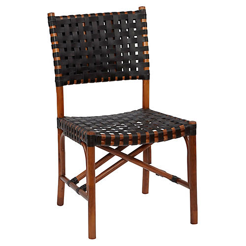 Muli Rattan Side Chair, Cocoa/Black
