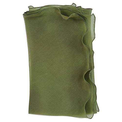 Bias Silk Organza Napkin, Green