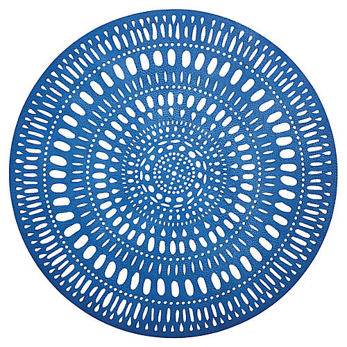 S/4 Fiesta Place Mats, Blue/White