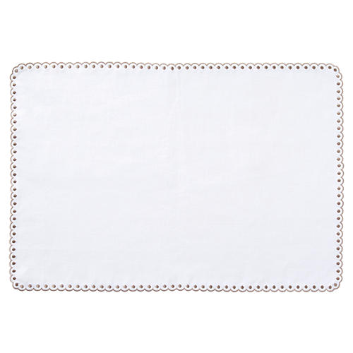 S/4 Scallop Dot Place Mats, White/Taupe