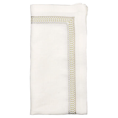 S/4 Nomad Dinner Napkins, White/Gold