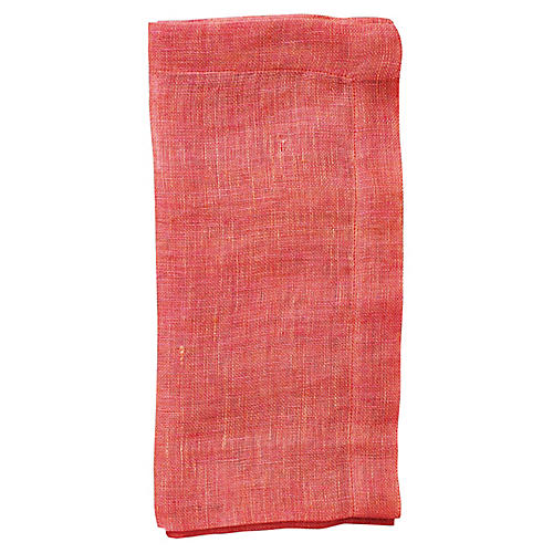 S/4 Chambray Gauze Dinner Napkins, Salmon