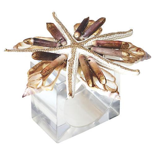 S/4 Beach Fleur Napkin Rings, Natural/Gold