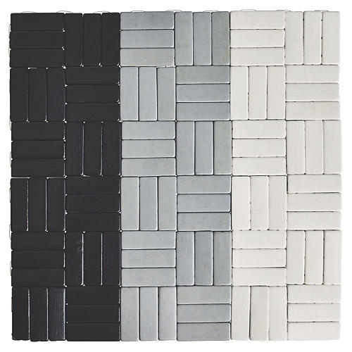 S/4 Jengaa Place Mats, Black/Gray