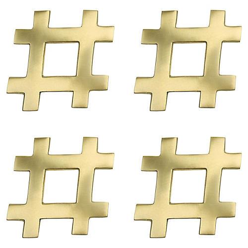 S/4 Hashtag Coasters, Gold
