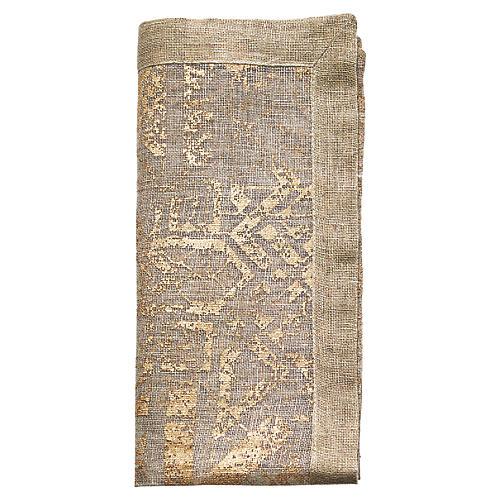 S/4 Distressed Dinner Napkin, Natural/Gold