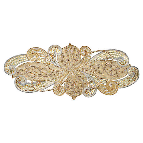 Art Nouveau Table Runner, Silver/Gold