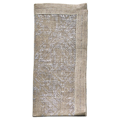 S/4 Distressed Dinner Napkin, Natural/Silver