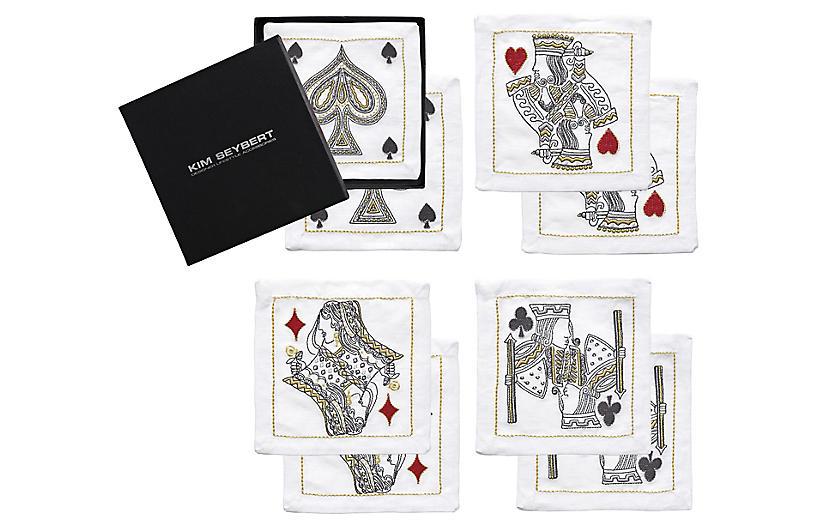 Set of 8 House of Cards Cocktail Napkins - White - Kim Seybert